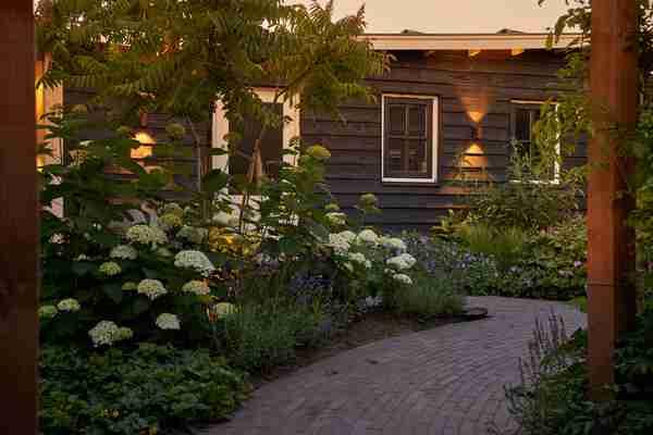 een gezellige tuin met verlichting